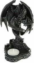 Teelichthalter Drachenfigur mit Kreuz Deko Drache