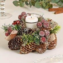 Teelichthalter Frosted Berries aus Holz Die