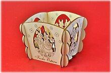 Teelichthalter Hasenpaar/Tanzender Hase als Osterdekoration für Teelicht Original Erzgebirge aus eigener Herstellung