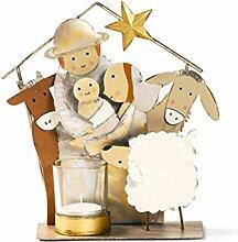 Teelichthalter Heilige Familie Metall Weihnachten Krippe Stall Winter Windlicht , Variante:HeiligeFamilie_StallTiere