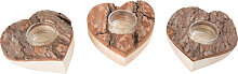 Teelichthalter Herz, aus Holz mit Rinde, 3er Set
