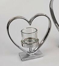 Teelichthalter Herz stehend H. 26cm silber Glas +