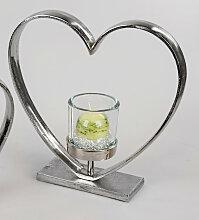 Teelichthalter Herz stehend H. 32cm silber Glas +