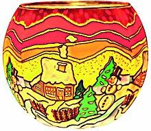 Teelichthalter Leuchtglas Rund Kerzenhalter Glas
