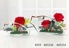 Teelichthalter mit 2 roten ROSEN Kunstblume