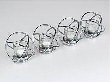 Teelichthalter mit 4 Gläsern SPIRALE silber L. 48cm klar Metall Formano W17 (9,50 EUR / Stück)