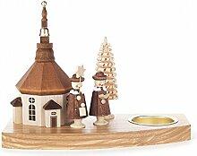 Teelichthalter mit Seiffener Kirche und Kurrende -