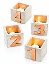 Teelichthalter mit Zahlen 1 - 4, 4 Stück