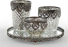 TEELICHTHALTER-SET , Silber, Transparent , Metall,