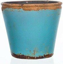 Teelichthalter Übertopf VINTAGE hellblau türkis