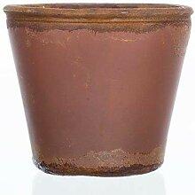 Teelichthalter Übertopf VINTAGE terracotta, Glas,