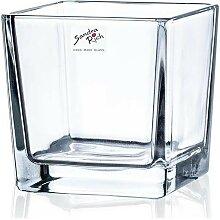 Teelichthalter Windlicht CUBE H. 10cm 10x10cm Glas