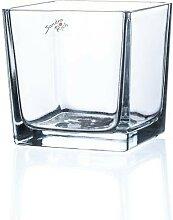 Teelichthalter Windlicht CUBE H. 12cm 12x12cm Glas