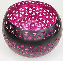 Teelichthalter Windlicht pink Kugel Metall Ø 12 cm Kerzenhalter Teelicht Laterne