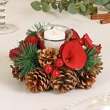 Teelichthalter Winter Roses aus Holz Die