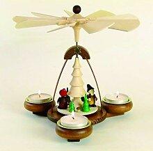 Teelichtpyramide braun Waldwichtel für 3