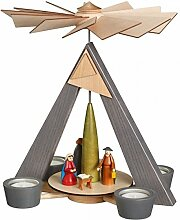 Teelichtpyramide – grau Christi Geburt, bunt