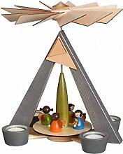 Teelichtpyramide – grau Engelchen, bunt Höhe 28