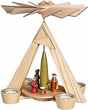 Teelichtpyramide – natur Christi Geburt, bunt