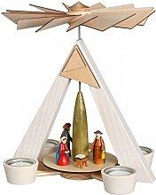 Teelichtpyramide – weiß Christi Geburt, bunt
