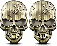 Teemous Totenkopf-Aufkleber, 3D-Metall, für