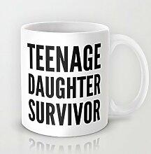 Teenage Daughter Survivor Kaffeebecher Funny Sprüche Kaffee Becher 11OZ Keramik Kaffee Becher Great Novelty Geschenk Weihnachten Geschenke für Männer, Frauen, Oma, Opa, Freunde, Boss und Lehrer