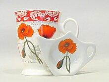 Teeset Becher mit Teebeutelablage & Tee-Ei in