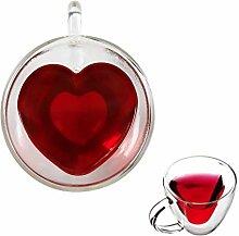 Teetasse in Herzform, doppelwandig, isoliert,