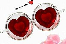 Teetasse in Herzform, doppelwandig, isoliertes