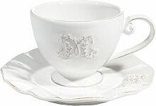 Teetasse mit Untertasse aus Keramik, weiß