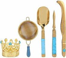 Teezeremonie-Set, Teenadel und Teelöffel Gold