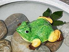 Teich Frosch grün/gelb/braun Keramik Breite 17,5 cm, Frogg, Teich, Gartendeko, Gartentier, Frosch
