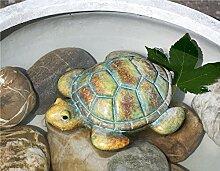 Teich-Schildkröte braun/grün/sand Keramik Breite