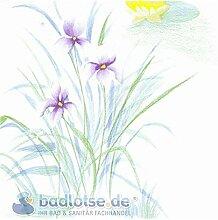 TEICHBLUME Duschvorhang Vinyl 180 x 200 cm weiß/grün/gelb Lotus Blumen