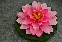 Teichdekoration- Schwimm-Seerose für den Teich in grün-rosa auf stabilem Blatt- täuschend echt- robust, - Durchmesser 14 cm, fester Kunststoff