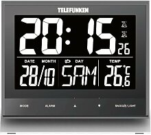 Telefunken FUX-500-HRB (G) XXL-LCD-Funkwecker / Wanduhr digital mit hochauflösendem Negativ-Display, USB Anschluss zur ext. Stromversorgung, Temperaturanzeige und Kalender, Tasten Frontseite (grau)