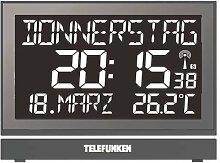 Telefunken FUX-700-HRB (B) SENIOREN XXL-LCD-Funkwecker /Wanduhr Uhr digital mit hochaufl. Negativ-Display, USB Anschluss zur ext. Stromversorgung, 8-facher Alarm zB für Medikamenteneinnahme (schwarz)