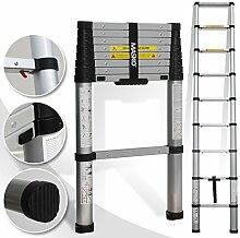 Teleskopleiter 2,60M ✓Soft Close Anti Pinch Fingerschutz beim Ein- und Ausfahren ✓ ALU-Leiter✓ ✓ Stehleiter ✓ Anlegeleiter ✓ Mehrzweckleiter ✓ Ausziehleiter ✓ Sprossenleiter