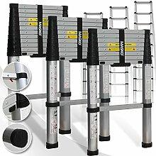 Teleskopleiter 3,20M ✓Soft Close Anti Pinch Fingerschutz beim Ein- und Ausfahren ✓ ALU-Leiter✓ ✓ Stehleiter ✓ Anlegeleiter ✓ Mehrzweckleiter ✓ Ausziehleiter ✓ Sprossenleiter