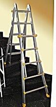 Teleskopleiter 4x6 Sprossen, Stehleiter, Klappleiter, Anlegeleiter Treppenleiter, nach EN 131 BG Neu