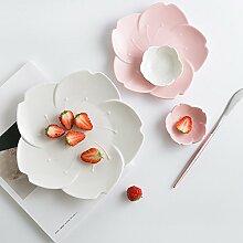 Teller,Geschirr,Porzellanteller Rosa Weiße
