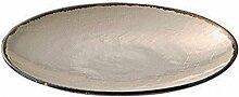 Teller Hessian - groß, 30cm, beige natur - broste