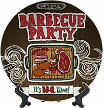 Teller Nostalgie Fun Grill-Party Keramik bedruck