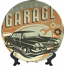 Teller Oldtimer Auto Garage Keramik bedruck