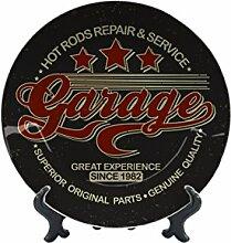 Teller Oldtimer Auto Hot Rod Garage Keramik bedruck