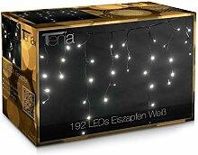 Tenia 192 LED Lichterkette, Lichtervorhang Eiszapfen Eisregen (4m) - für Innen und Außen Weihnachten, Weiß (Kaltweiß)