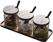 TentHome Gewürzgläser Glas Gewürzhalter für 3
