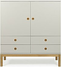 Tenzo 3566-083 Fresh Designer Schrank Holz, warm grey / eiche, 46 x 113 x 123 cm