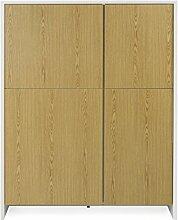 Tenzo 5934-450 Profil Melamin Designer Schrank, Holz, weiß / eiche melamin, 47 x 120 x 150 cm