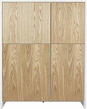 Tenzo 5934-454 Profil Designer Schrank / Highboard, 150 x 120 x 47 cm, weiß / eiche furnier
